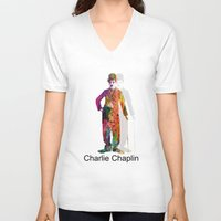 chaplin V-neck T-shirts featuring charlie chaplin by mark ashkenazi