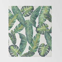 Jungle Leaves, Banana, Monstera II #society6 Throw Blanket