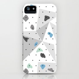 Abstract geometric climbing gym boulders blue mint iPhone Case