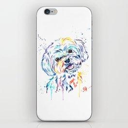 Havanese Colorful Watercolor Pet Portrait Painting iPhone Skin