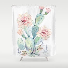Prettiest Cactus Rose Watercolor by Nature Magick Shower Curtain