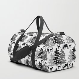 Woodland Rustic Deer Winter Mountain Forest Trees Duffle Bag