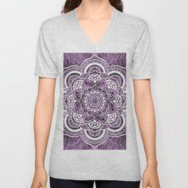 Mandala Grayish Purple Colorburst Unisex V-Neck