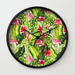 Aloha- Tropical Flamingo Bird and Hibiscus Palm Leaves Garden Wall Clock