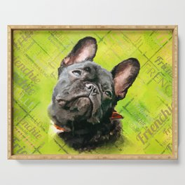 Cute French Bulldog - Frenchie with word pattern Serving Tray