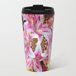 ABSTRACTED FUCHSIA-PINK LILY & HOLLYHOCKS GARDEN Travel Mug