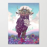Canvas Prints featuring Journeying Spirit (Owl) by Mat Miller