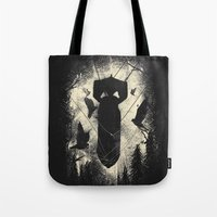 bombs away Tote Bags featuring Bombs Away by nicebleed