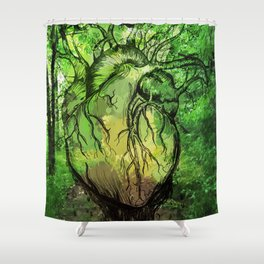 Green Heart of Nature Shower Curtain