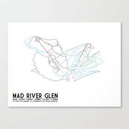 Mad River Glen, VT - Minimalist Trail Art Canvas Print