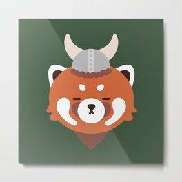 Red Panda in a Viking Hat Metal Print