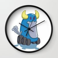 platypus Wall Clocks featuring DUCKWHEEL PLATYPUS by Erick Sulaiman