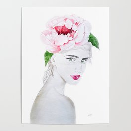 Lady with flower, watercolor Poster