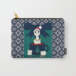 Hot Cocoa Holiday Penguin Quatrefoil Carry-All Pouch