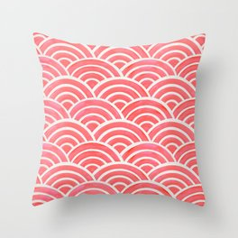 Japanese Seigaiha Wave Pattern – Coral Throw Pillow