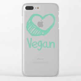 Vegan from the heart Clear iPhone Case
