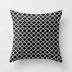 Black and White Graphic Flower Throw Pillow