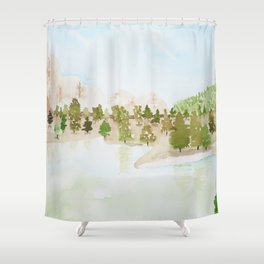 Pines and mountains Shower Curtain
