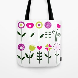 Retro flowers set isolated on white ( black and pink, colorful ) Tote Bag
