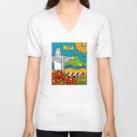 rio de janeiro V-neck T-shirts featuring Rio de Janeiro 2015 by Monica Fuchshuber