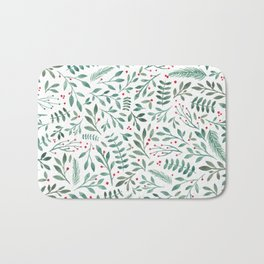 Green Leaves and Red Berries. Bath Mat