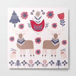 Scandinavian Winter Pattern Beige #society6 #buyart Metal Print