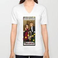 downton abbey V-neck T-shirts featuring Downton Nouveau by mikaelak
