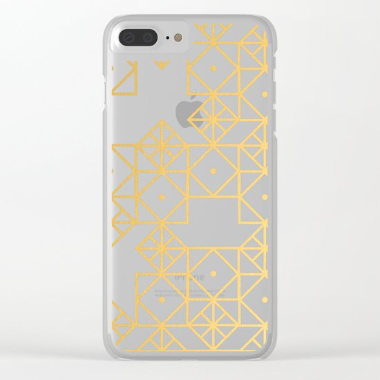 Geometric Turquoise Clear iPhone Case