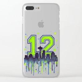 Seattle 12th Man Art Seattle Skyline Space Needle Clear iPhone Case