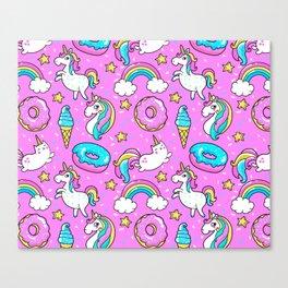 Kawaii Sweet Pink Glittery unicorn pattern Canvas Print