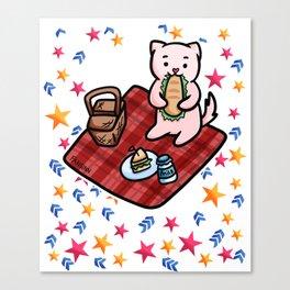 Cat picnic star Canvas Print