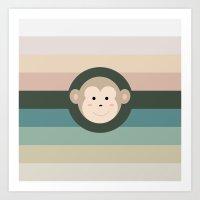 monkey Art Prints featuring Monkey by artsimo