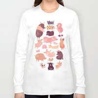 pig Long Sleeve T-shirts featuring Pig Pig Pig  by Chuck Groenink