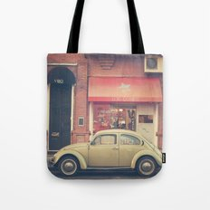 Beige Volkswagen Bug and a lovely Pink Shop (Vintage - Retro Urban Photography) Tote Bag