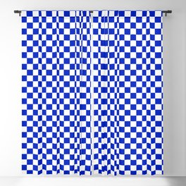 Small Cobalt Blue and White Checkerboard Pattern Blackout Curtain