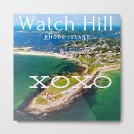 Watch Hill, Rhode Island XOXO - Ocean State Summer Travel Wall Decor and T-Shirt Decor Metal Print