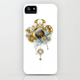 Steampunk Clock with Mechanical Dragonfly iPhone Case