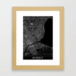 Detroit Black Map Framed Art Print