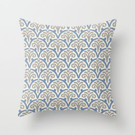 Floral Scallop Pattern Gray and Blue Throw Pillow