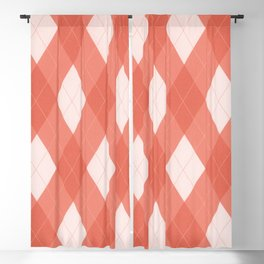Pantone Living Coral Argyle Plaid, Diamond Pattern Blackout Curtain
