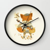 fruit Wall Clocks featuring Fritz the Fruit-Foraging Fox by Teagan White