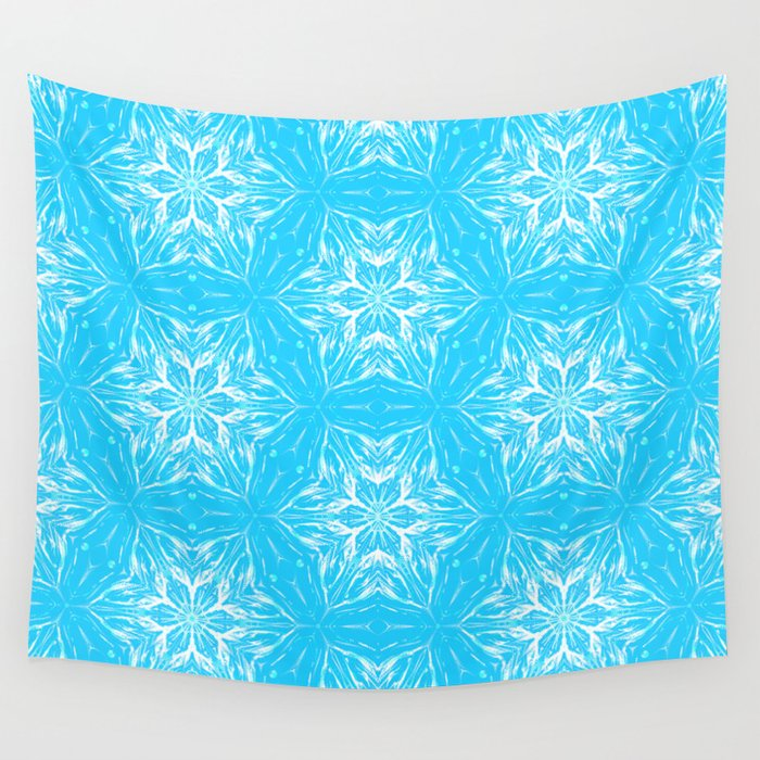 White Snowflakes stars ornament on Blue Wall Tapestry