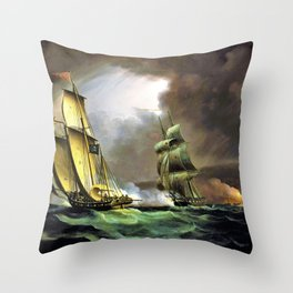 12,000pixel-500dpi - A Smuggling Lugger Chased By A Naval Brig - Thomas Buttersworth Throw Pillow