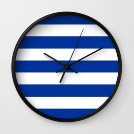 Smalt (Dark powder blue) - solid color - white stripes pattern Wall Clock