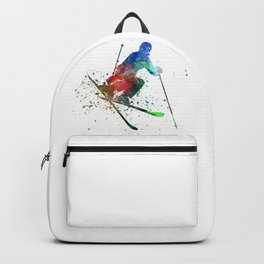 woman skier freestyler jumping Backpack
