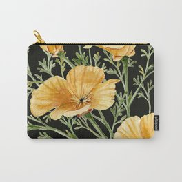 California Poppies on Charcoal Black Carry-All Pouch
