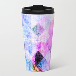 Pink/Blue Geometric Grungy Diamond Pattern Travel Mug