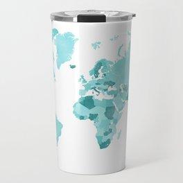 Distressed world map in aquamarine and teal Travel Mug