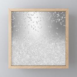 Modern silver glitter ombre metallic sparkles confetti Framed Mini Art Print