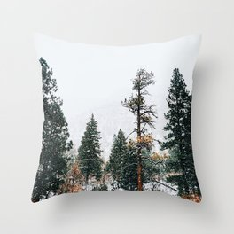 Snow Capped Pine Trees Throw Pillow
